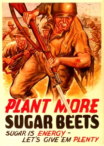 La propagande pour encourager l'élevage des betteraves à sucre pendant la guerre. Photo par James Vaughan. WW2- more sugar beets? CC. https://flic.kr/p/7hTDu4